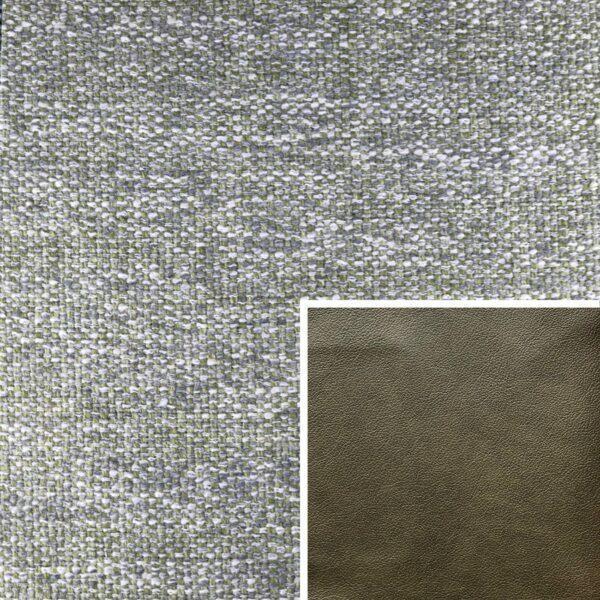 Akador Venezuela Elementgruppe - Sofabezug aus Textilgewebe Longlife Magic apple, Kissen aus Leder Longlife E touch zeder