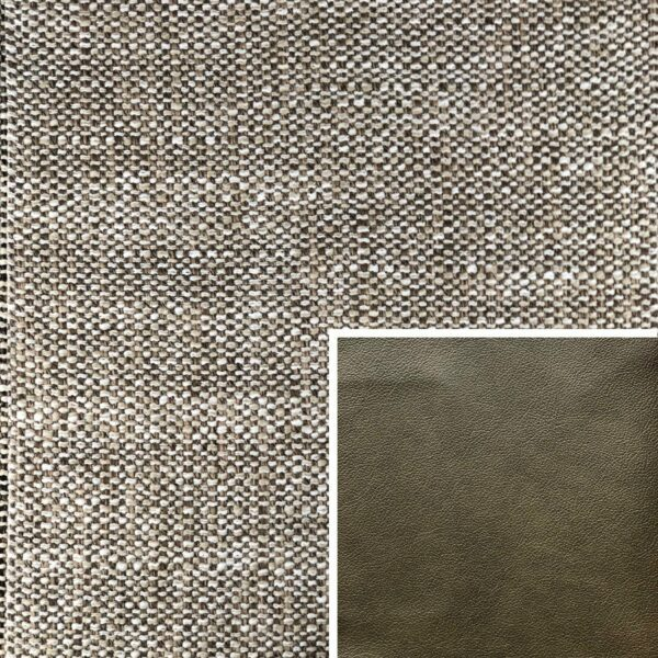 Akador Venezuela Elementgruppe - Sofabezug aus Textilgewebe Longlife Magic coffee, Kissen aus Leder Longlife E touch zeder