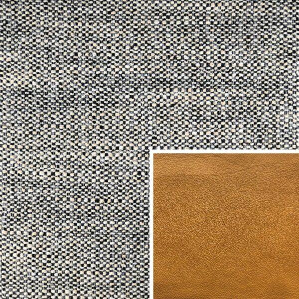 Akador Venezuela Elementgruppe - Sofabezug aus Textilgewebe Longlife Magic granit, Kissen aus Leder Longlife E touch kurkuma