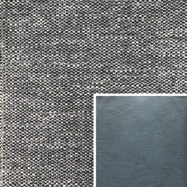 Akador Venezuela Elementgruppe - Sofabezug aus Textilgewebe Longlife Magic grey, Kissen aus Leder Longlife E touch steel