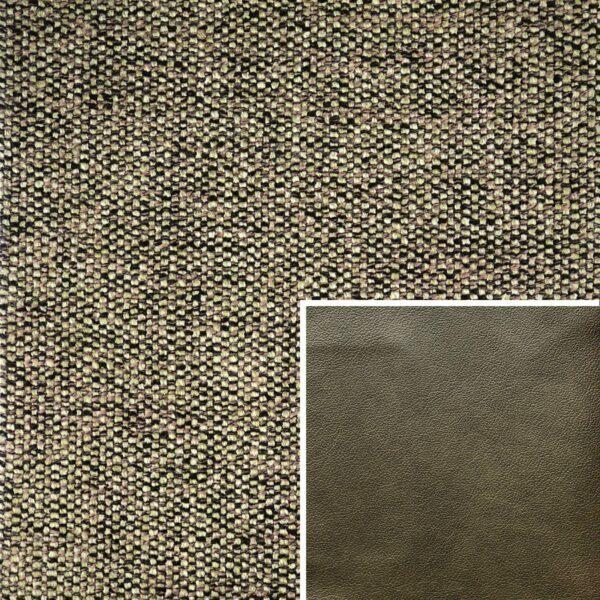 Akador Venezuela Elementgruppe - Sofabezug aus Textilgewebe Longlife Magic moos, Kissen aus Leder Longlife E touch zeder