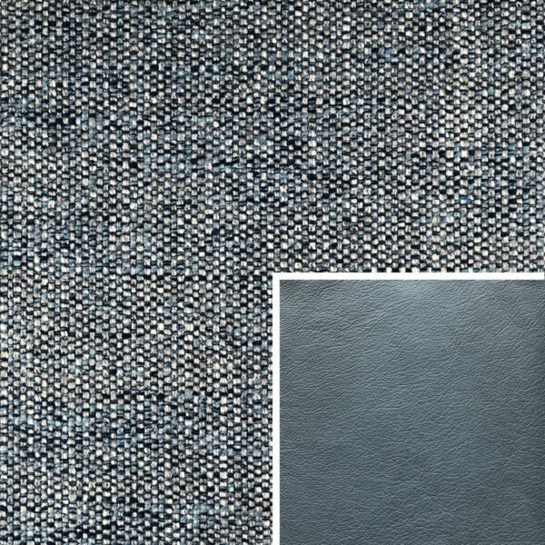 Akador Venezuela Elementgruppe - Sofabezug aus Textilgewebe Longlife Magic ocean, Kissen aus Leder Longlife E touch steel