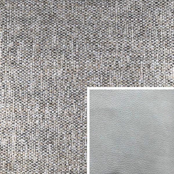 Akador Venezuela Elementgruppe - Sofabezug aus Textilgewebe Longlife Magic silver, Kissen aus Leder Longlife E touch stone