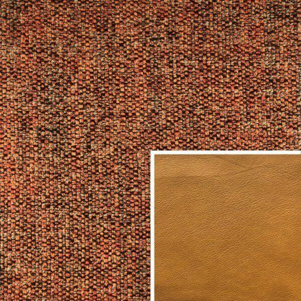 Akador Venezuela Elementgruppe - Sofabezug aus Textilgewebe Longlife Magic terra, Kissen aus Leder Longlife E touch kurkuma