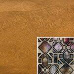 Akador San Andreas Elementgruppe - Sofabezug aus Leder kurkuma, Kissenbezug aus Textilgewebe diamant bordeaux
