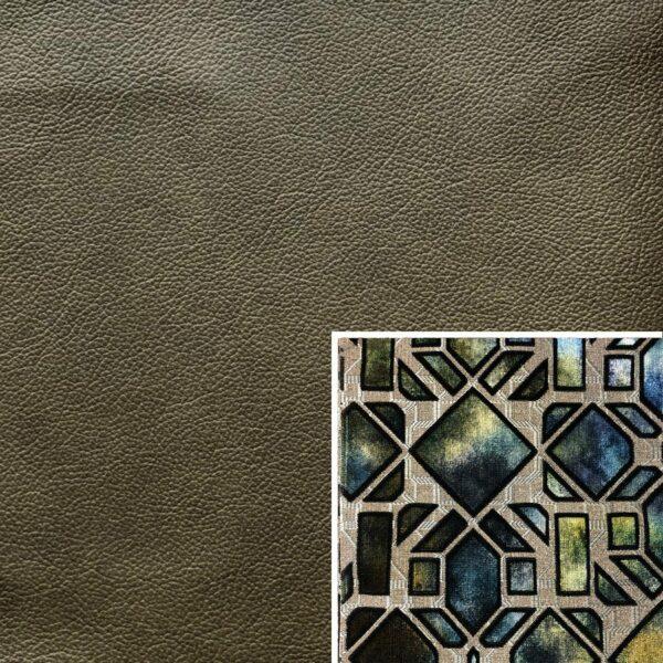 Akador San Andreas Elementgruppe - Sofabezug aus Leder zeder, Kissenbezug aus Textilgewebe diamant türkis