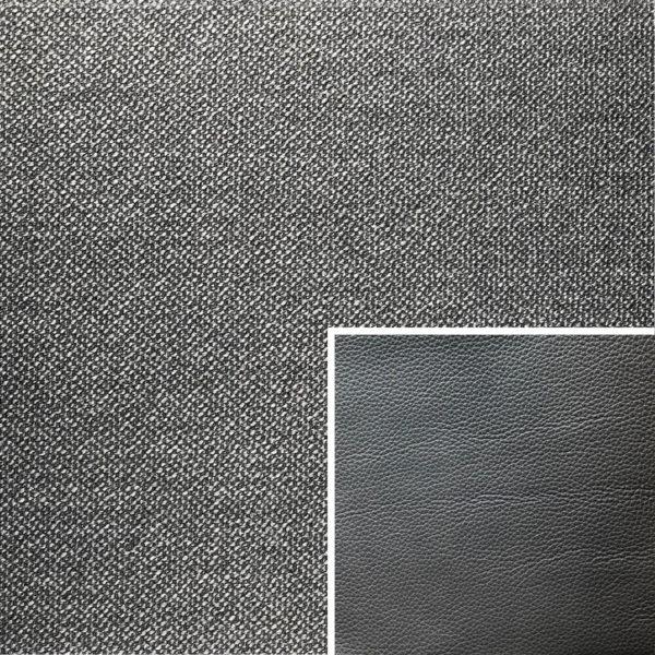 Akador Colombia Elementgruppe - Sofabezug aus Textilgewebe Q2 Natura basalt, Kissen aus Leder Longlife E soft anthrazit