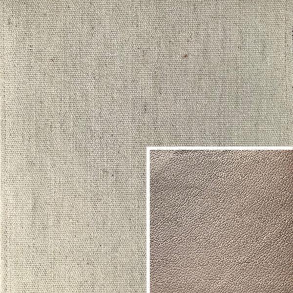 Akador Colombia Elementgruppe - Sofabezug aus Textilgewebe Q2 Natura linnen, Kissen aus Leder Longlife E soft taupe