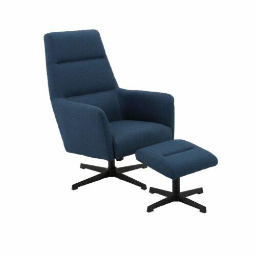 Trendstore Relaxsessel Meldan in blau mit Hocker seitliche Ansicht