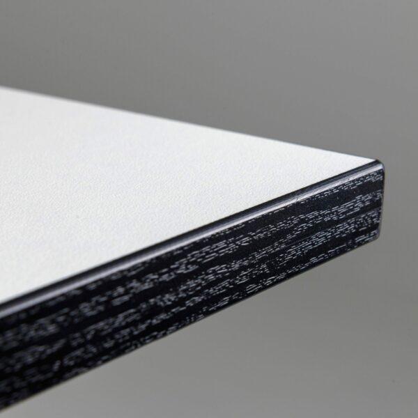 Trendstore Tine Tisch perlweiß Gestell schwarz - Detail Kante