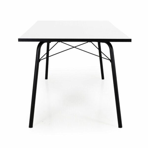 Trendstore Tine Tisch perlweiß Gestell schwarz - Ansicht seitlich