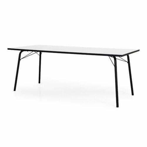 Trendstore Tine Tisch perlweiß Gestell schwarz - Winkelansicht