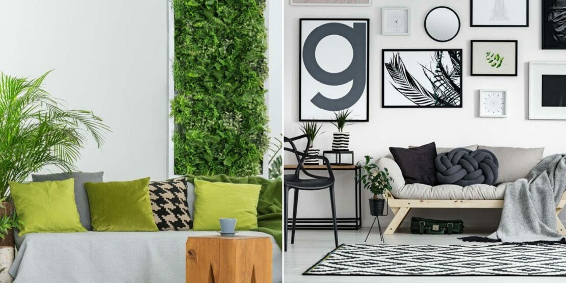 Einrichtungen mit Grün und Schwarz als Grundfarben
