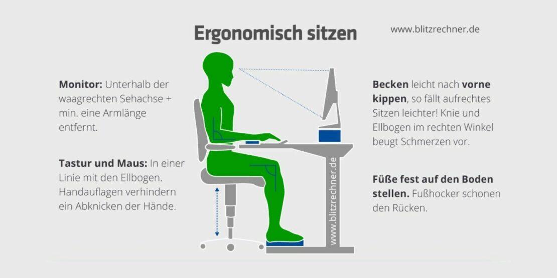Bürostuhl ergonomisch einrichten