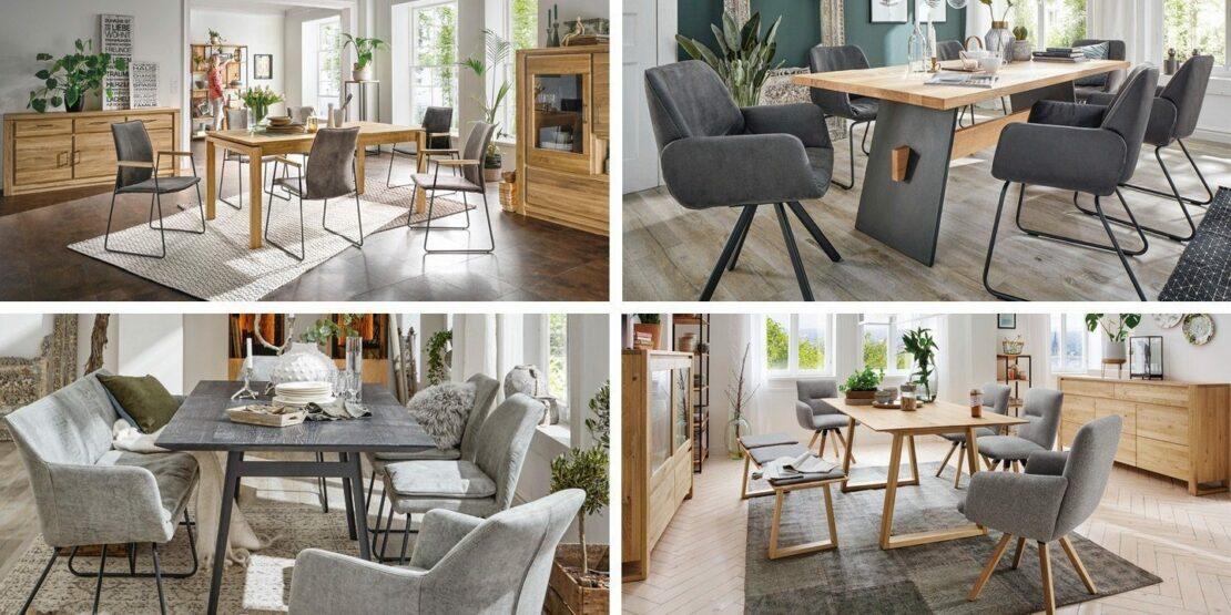 Vier verschiedene Arten von Esszimmerstühlen