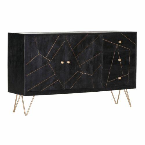 Trendstore Sideboard Gideon in Akazie massiv sandgestrahlt, schwarz gebeizt und lackiert mit 2 Türen und 3 Schubladen und goldenen Füßen