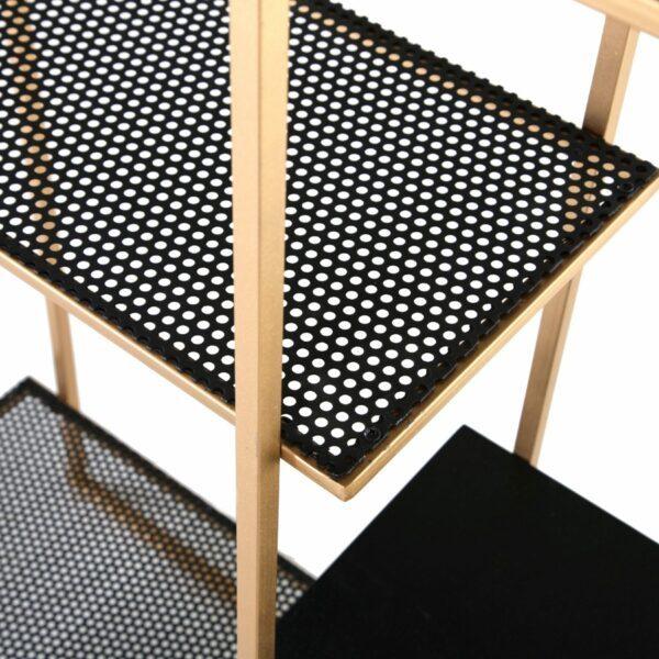 Trendstore Standregal Genaro mit goldfarbenem Metallgestell und fünf Ablagefächern aus MDF sowie Lochblech Detailbild