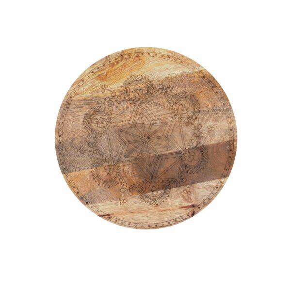 """Trendstore Beistelltisch """"Geralmo"""" Tischplatte Mango massiv natur, gebeizt und lackiert mit Lasergravur"""