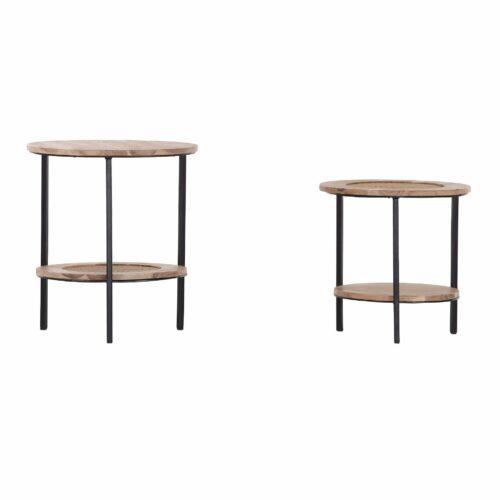 """Trendstore Beistelltisch-Set """"Galvan"""" mit Tischplatten aus Akazie massiv natur sägerau und Füßen in Metall schwarz lackiert"""
