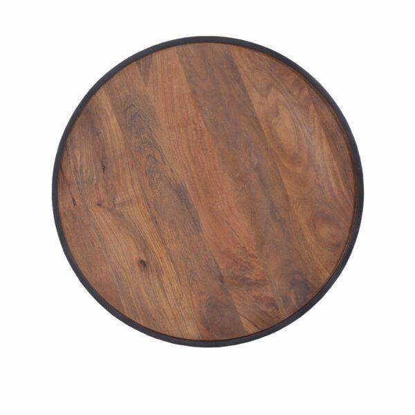 Trendstore Couchtisch Gaara mit einer Tischplatte aus Mango massiv, braun gebeizt und lackiert - Detail Tischplatte