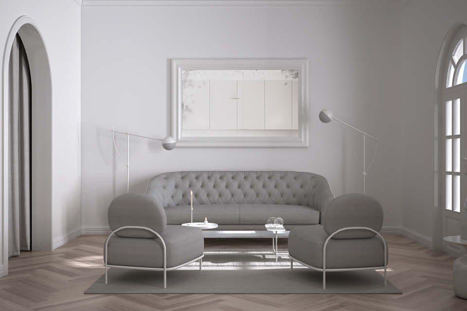 Weißer Spiegel als Wandgestaltung