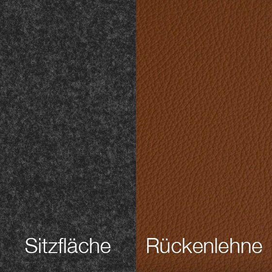 Textilgewebe Future Middengrijs (30 % Wolle, 70 % Polyamid) & Leder Tendens Saddle Brown
