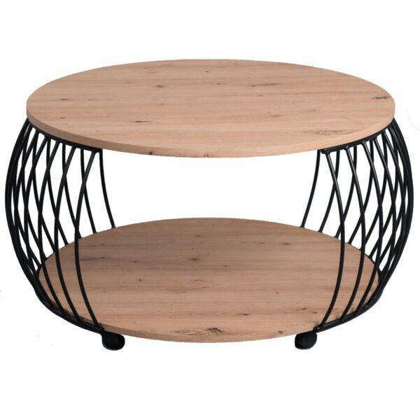 """Trendstore Couchtisch """"Maceo"""" mit einer Tischplatte aus MDF Dekor Artisaneiche Nachbildung, Gestell aus schwarzem Metall mit Rollen"""