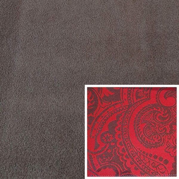 Trendstore Gaven Sofa braun Kissen Muster rot
