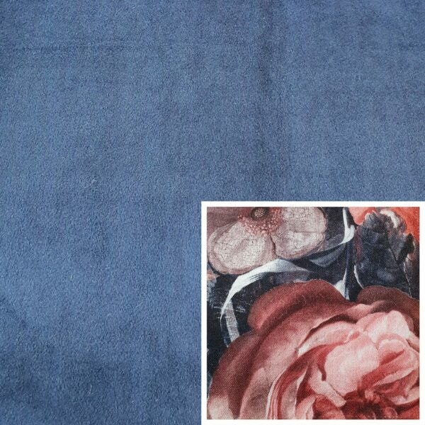 Trendstore Gaven Sofa dunkelblau Kissen Blumen dunkel