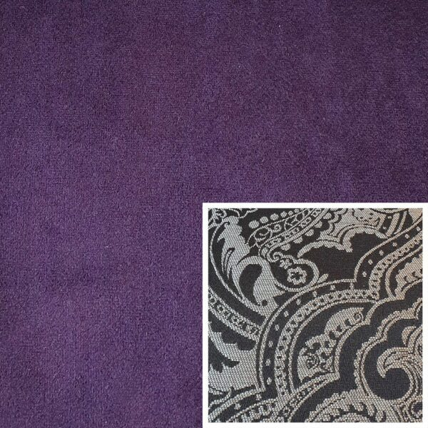 Trendstore Gaven Sofa lila Kissen Muster grau