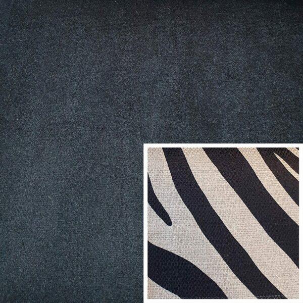 Trendstore Gaven Sofa schwarz Kissen Zebra