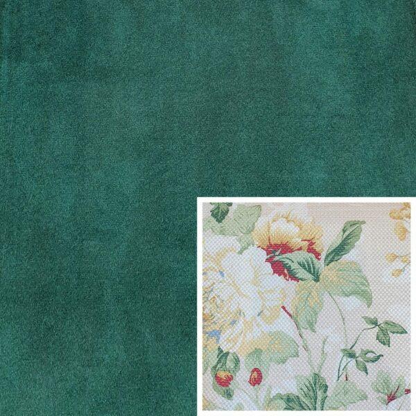 Trendstore Gaven Sofa tannengrün Kissen Blumen hell