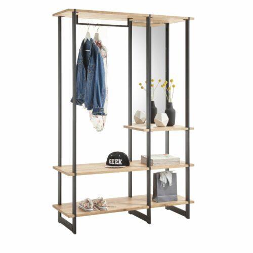 """Trendstore """"Salenia"""" Standregal mit 3 Ablageflächen in Eiche massiv geölt mit durchgehender Lamelle sowie einer Kleiderstange und einem Spiegel"""