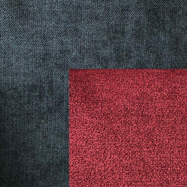 Bezug Korpus und Zierkissen Webstoff Enjoy 25 schwarz – Bezug Sitz und Rückenkissen Webstoff Aston 09 red