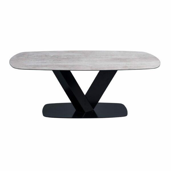 """Trendstore Couchtisch """"Miga"""" mit einer Tischplatte aus Sicherheitsglas in Keramikoptik und einem schwarzen Metallgestell sowie einer Metallbodenplatte"""