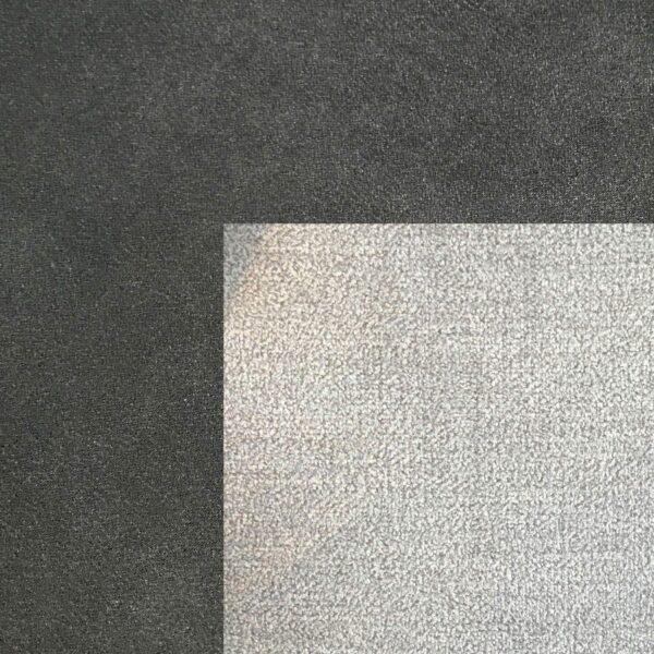 Bezug Korpus und Seiten Kopfteil in Anthrazit – Bezug Obermatratze und Kopfteilmitte in Silver