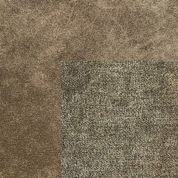 Bezug Korpus und Seiten Kopfteil in Stone – Bezug Obermatratze und Kopfteilmitte in Camel