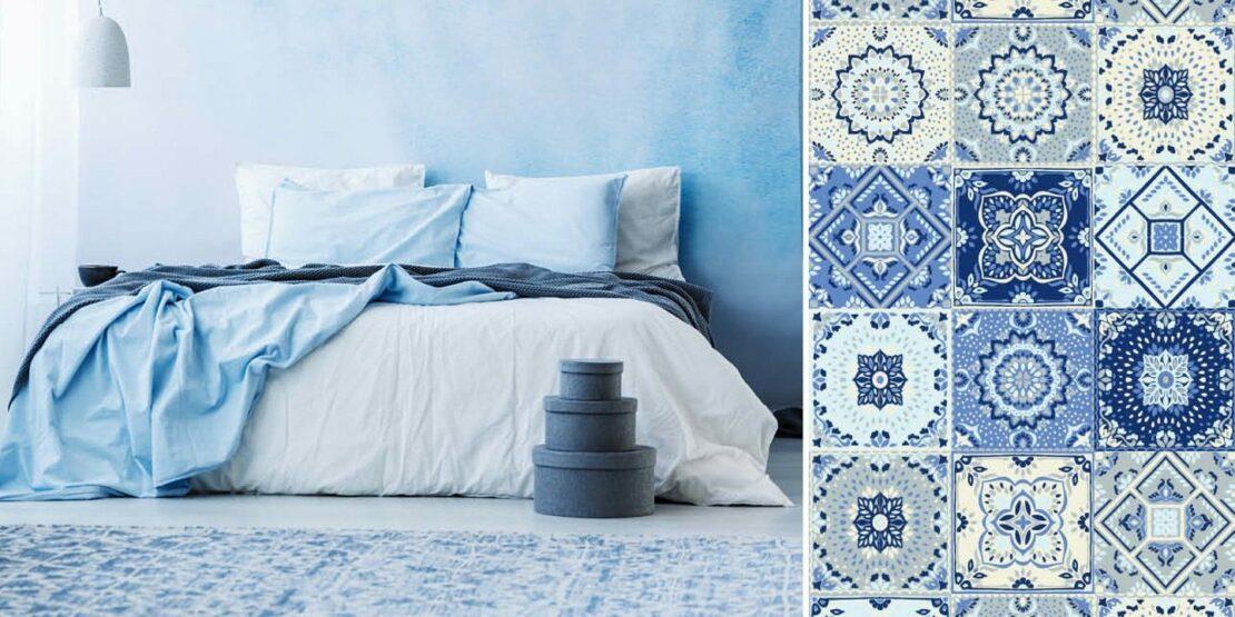 Schlafzimmer in Blautönen und ein blauer Fliesenboden