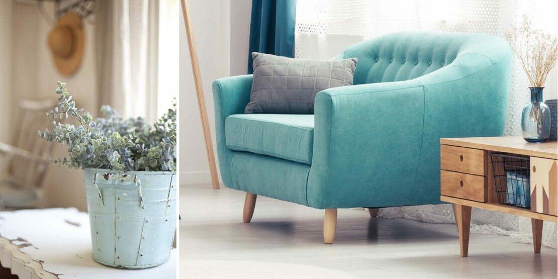 Pflanztopf und Sessel in hellen Blautönen