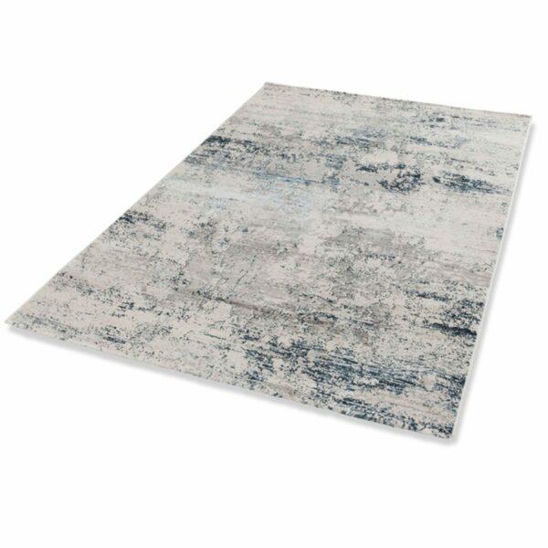 """Astra """"Antea"""" Teppich im Design 201 in der Farbe Creme-Blau in liegender Ansicht."""