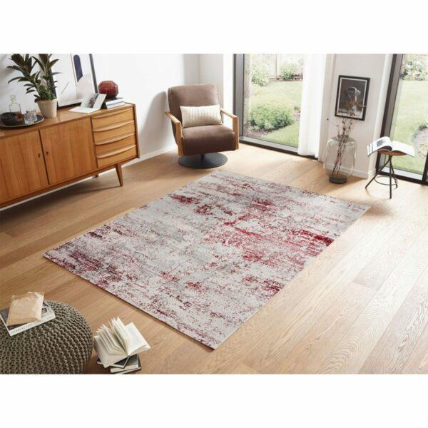 "Astra ""Antea"" Teppich im Design 201 in der Farbe Creme-Rot im Milieu."