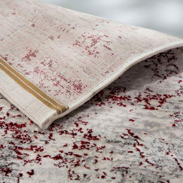 """Astra """"Antea"""" Teppich im Design 201 in der Farbe Creme-Rot in Rückansicht."""