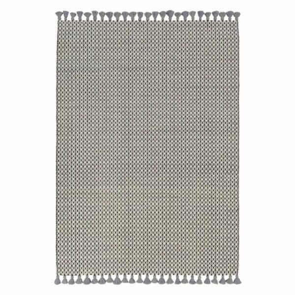Teppich Insula aus Wolle und Baumwolle mit Fransen
