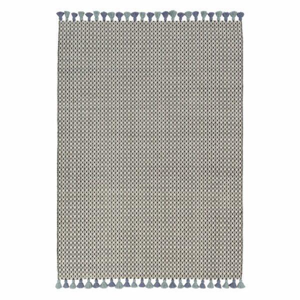Teppich Insula aus Wolle und Baumwolle mit grün-blauen Fransen