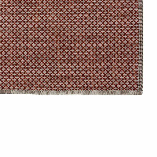 """Astra """"Rho"""" Teppich im Design 190 mit der Farbe Rot in Nahansicht der Ecke."""