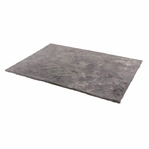 Astra Tender eckiger Fellteppich grau seitlich