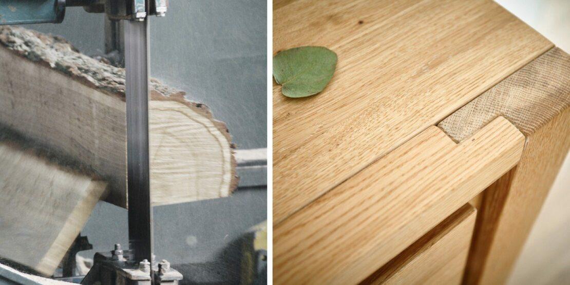 Sägen eines Baumstamms und ein Massivholztisch