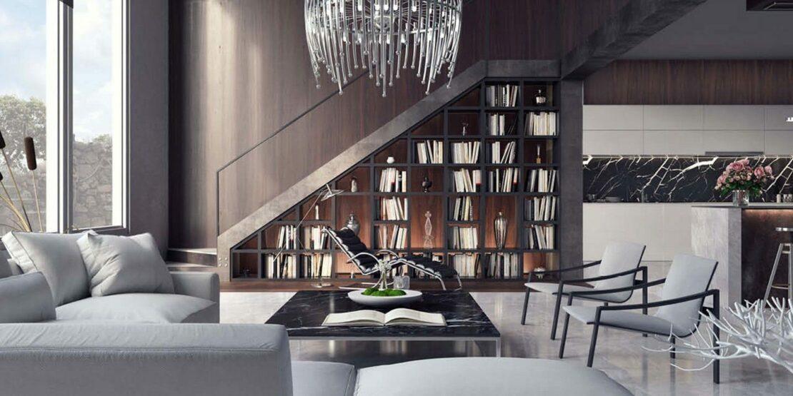 Offenes und luxuriöses Wohnzimmer