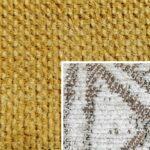 Sofabezug Paris-Mustard 420 – Kissenbezug Socrates Braun 05