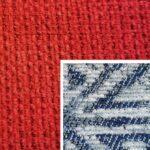 Sofabezug Paris-Rot 32 – Kissenbezug Socrates Blau 04